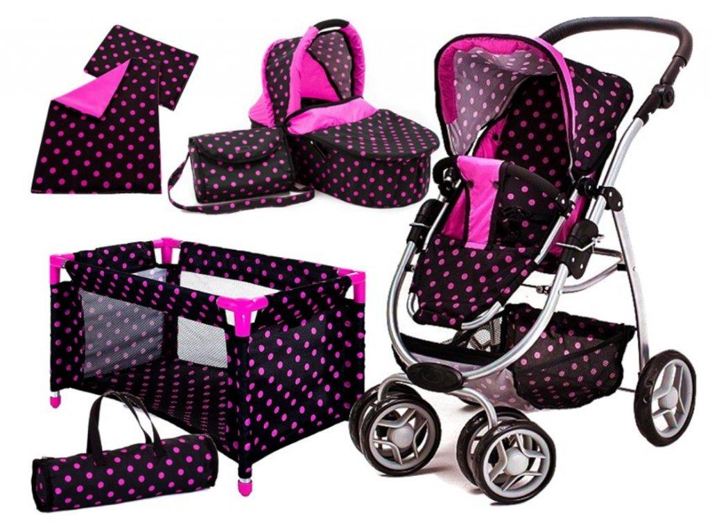 Doris kočík pre bábiky 6v1 čierny 9662