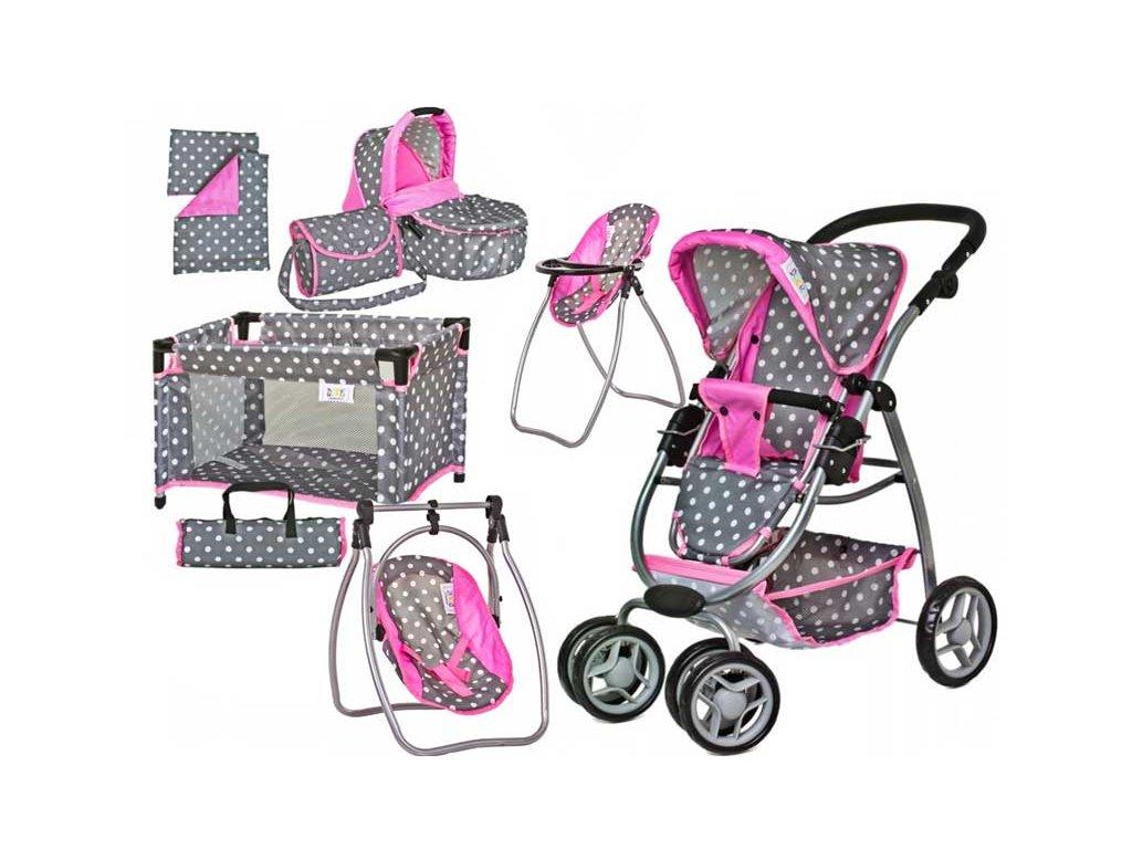 Doris kočík pro panenky + zostava príslušenstvo 8v1 šedo ružový