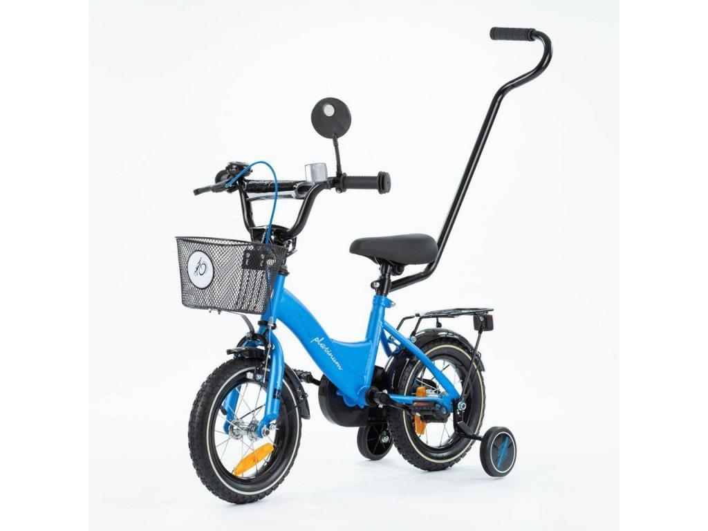 Detský bicykel 12 s vodiacou tyčou TBK Platinum modrá (11)