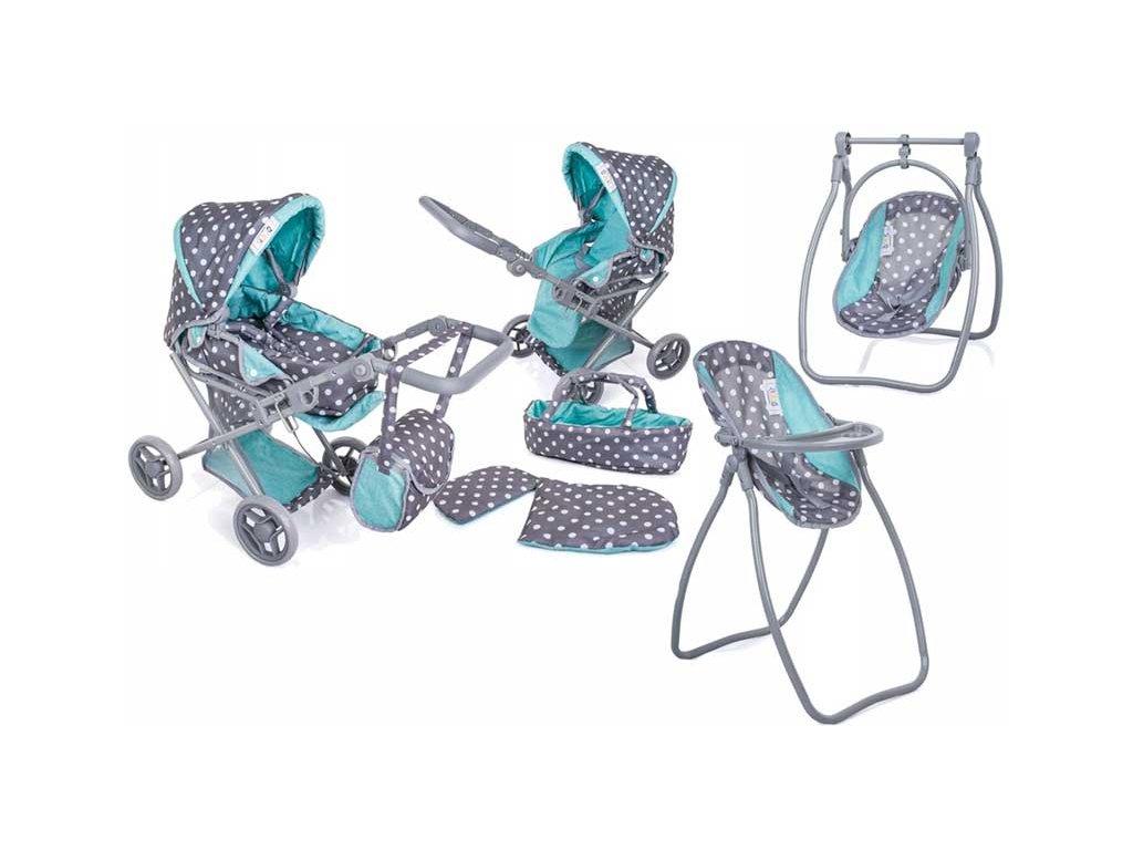 Doris Kočík pre bábiky 9346 Tobi set 6v1 sivo zelený