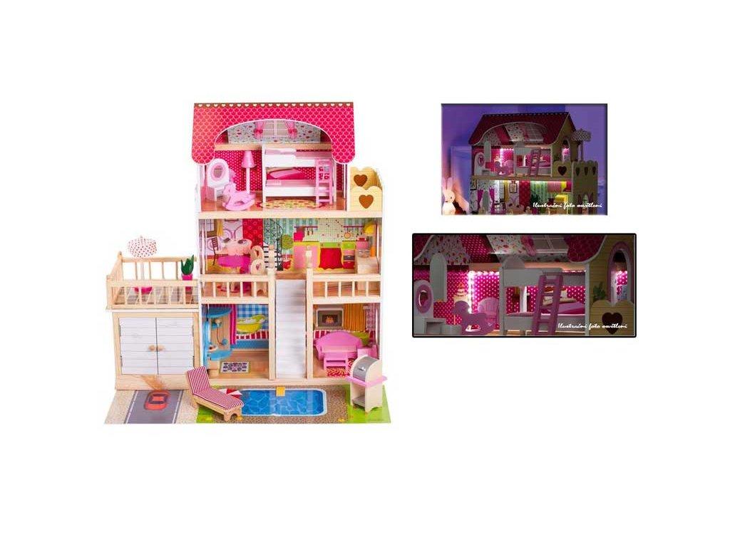 Doris drevený domček pre bábiku s terasou, garážou a LED pásikom ružový 90 cm