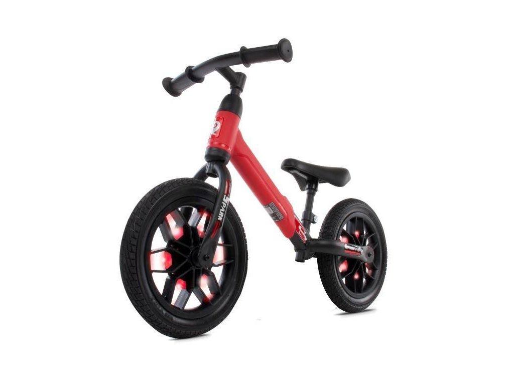 Odrážacie koleso 12 Spark s LED, gumová kolesá červený (2)