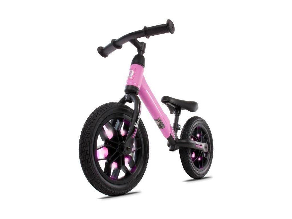Odrážacie koleso 12 Spark s LED, gumová kolesá ružový (1)