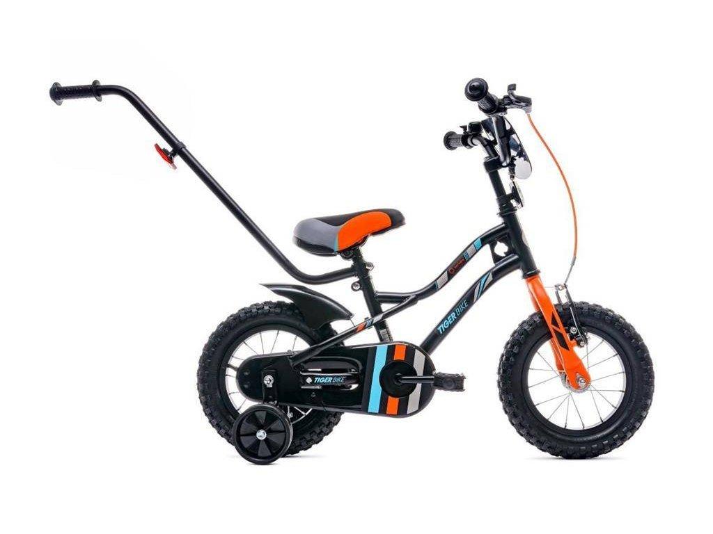 Detský bicykel 14 s vodiacou tyčou Tiger bike oranžový (1)