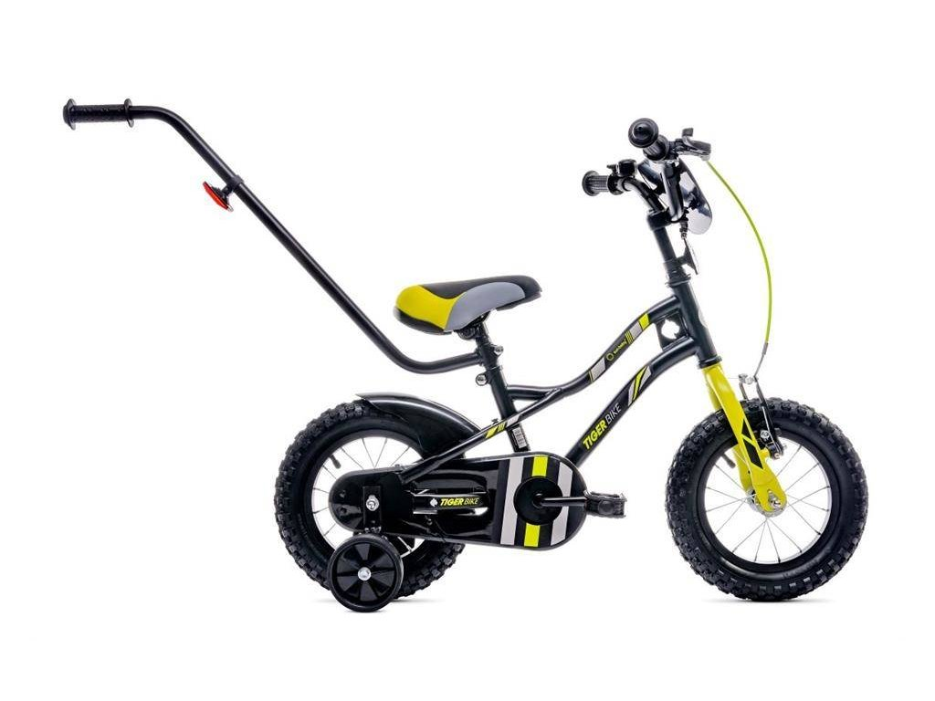 Detský bicykel 14 s vodiacou tyčou Tiger bike žltý (1)
