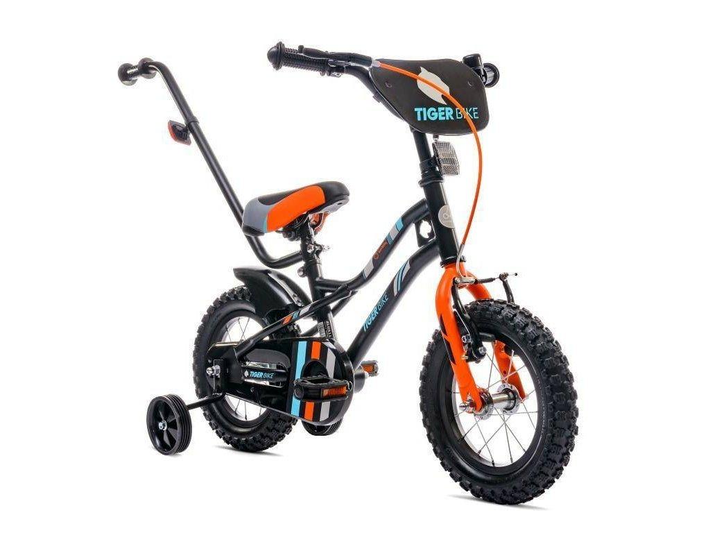 Detský bicykel 16 s vodiacou tyčou Tiger bike oranžové (2)