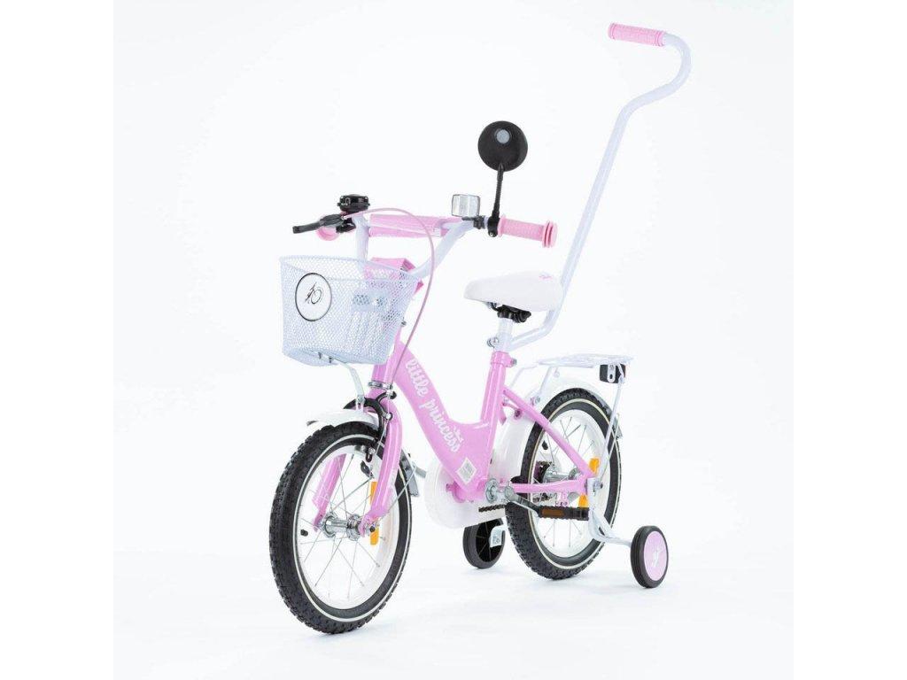 Detský bicykel 14 s vodiacou tyčou Little princess ružové (5)