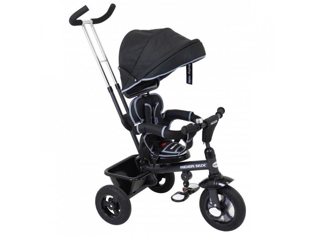 Trojkolka Baby Mix Rider 360° čierna gumená kolesá