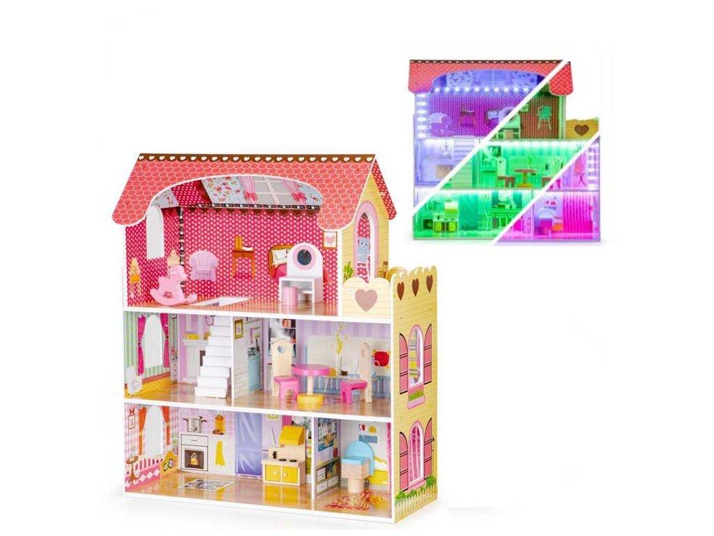 Eco Toys drevený domček pre bábiku basic s LED pásikom ružový 79 cm