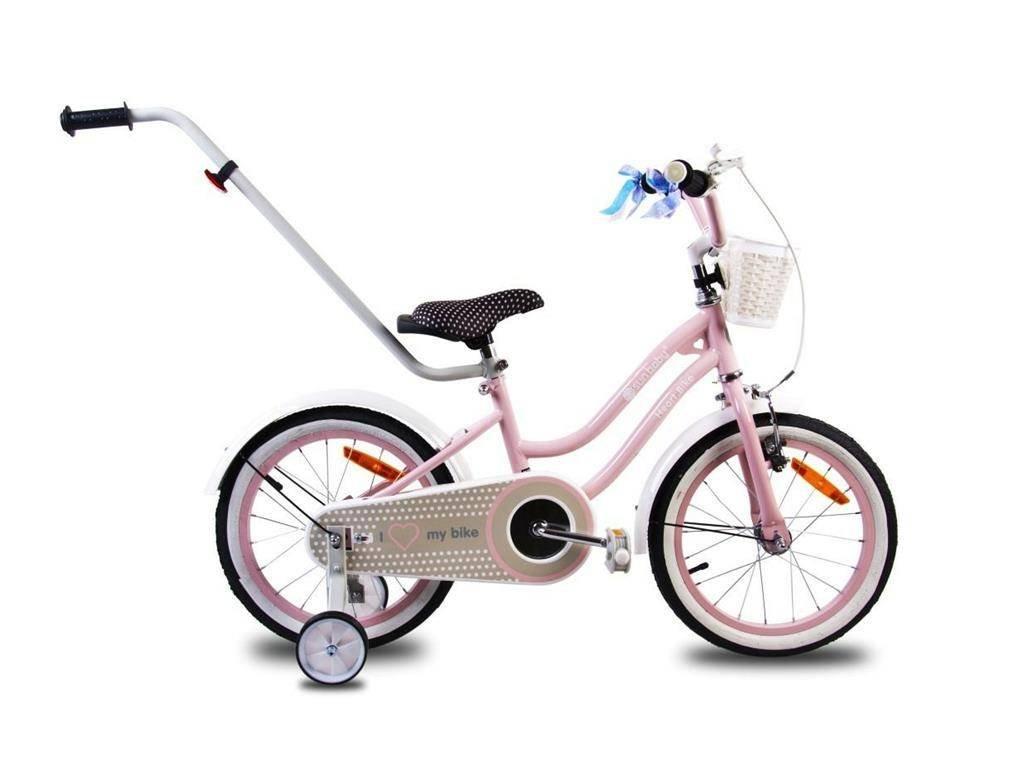 Detský bicykel 16 s vodiacou tyčou HEART BIKE ružové