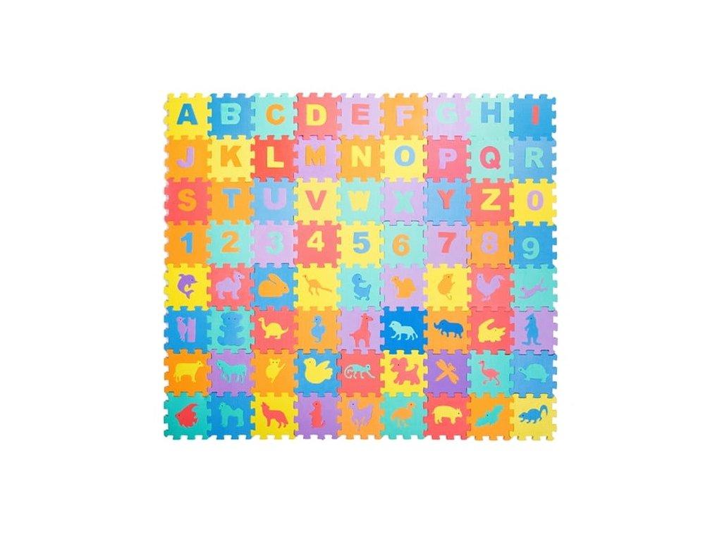 Penové puzzle písmenká, číslice a zvieratá 72 dielikov