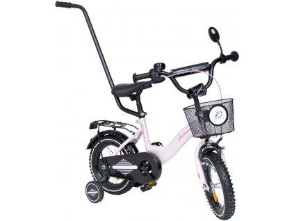 Detský bicykel 12 s vodiacou tyčou TBK Platinum pink