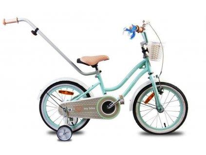 Detský bicykel 14 s vodiacou tyčou HEART BIKE mätové