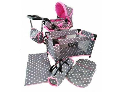 Doris kočík pre bábiky 5v1 šedý exc2