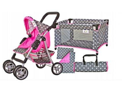 Doris kočík pre bábiky 9352 v sete Tobi 4v1 sivo ružový