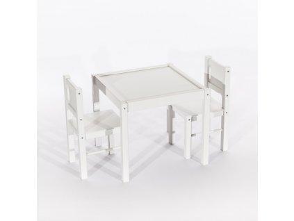 Tobiland detský nábytok 3 ks, stôl s stoličkami biely (2)
