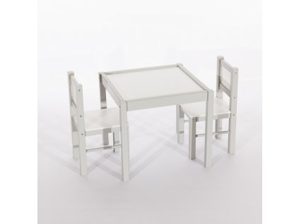 Tobiland detský nábytok 3 ks, stôl s stoličkami sivý (1)