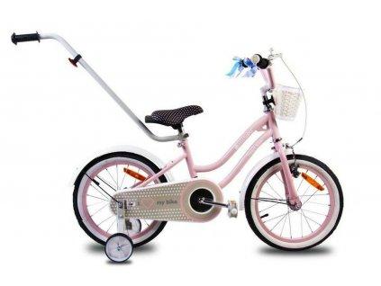 Detský bicykel 14 s vodiacou tyčou HEART BIKE ružové