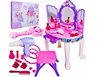 Detský kozmetický stolík s príslušenstvom fialový