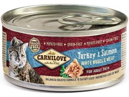 7746 carnilove wmm turkey salmon for adult cats 100g
