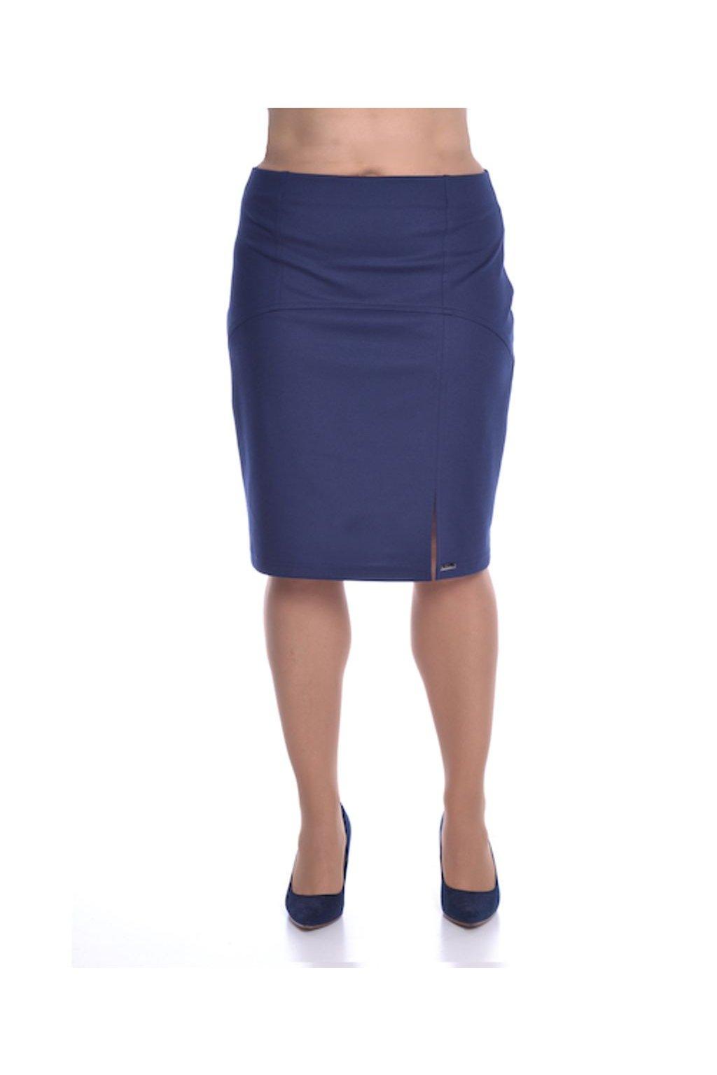 1020 Sukně členěná rozparek (Velikost 36, Barva Modrá)
