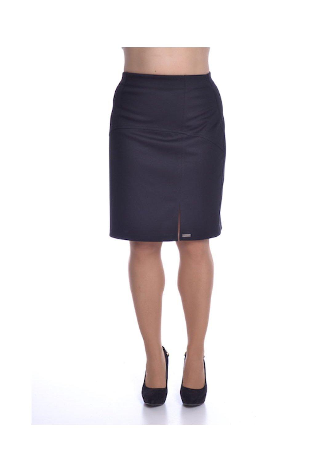 1020 Sukně členěná rozparek (Velikost 36, Barva Černá)