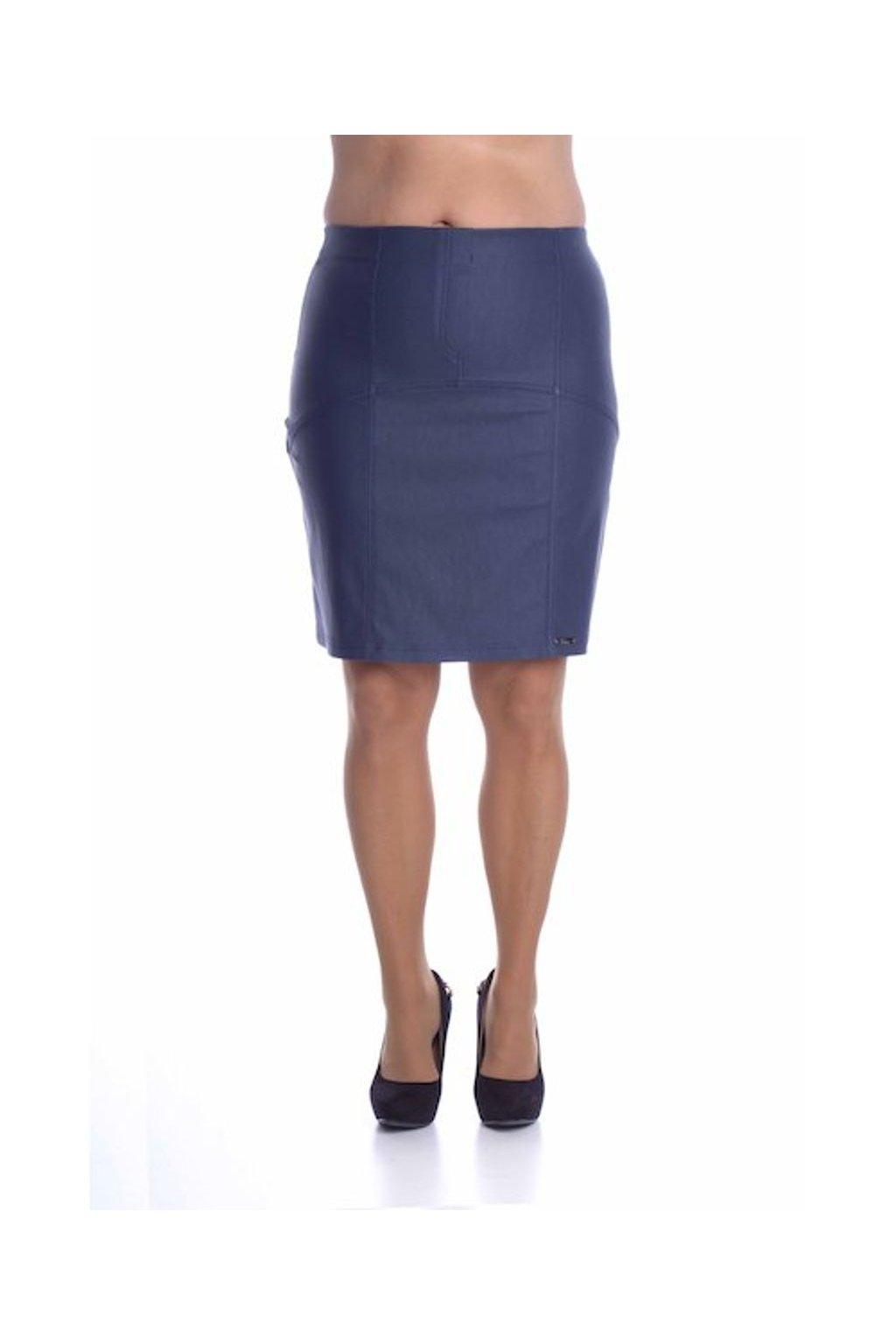 8019 Sukně členěná koženka (Velikost 36, Barva Modrá)