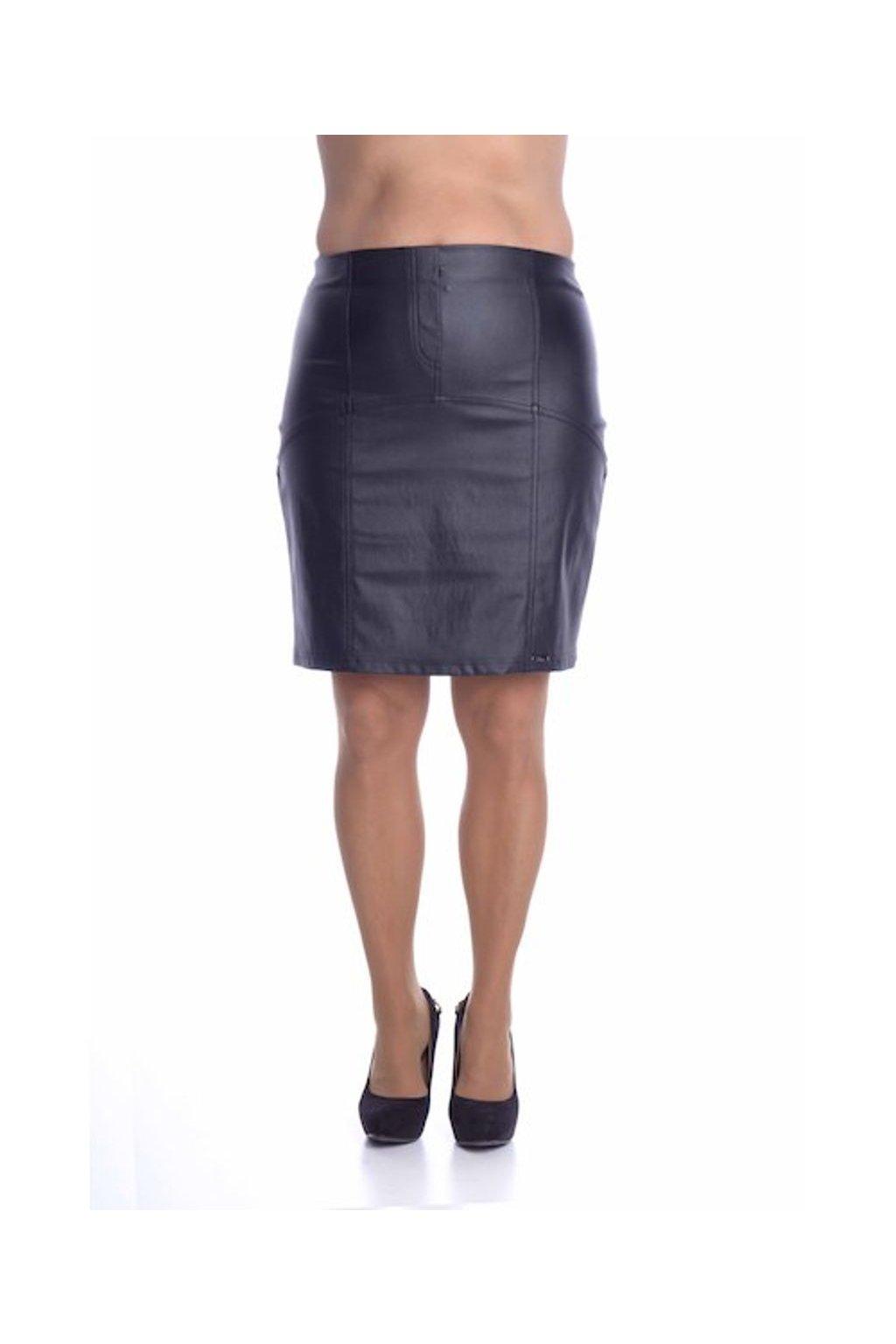 8019 Sukně členěná koženka (Velikost 36, Barva Černá)