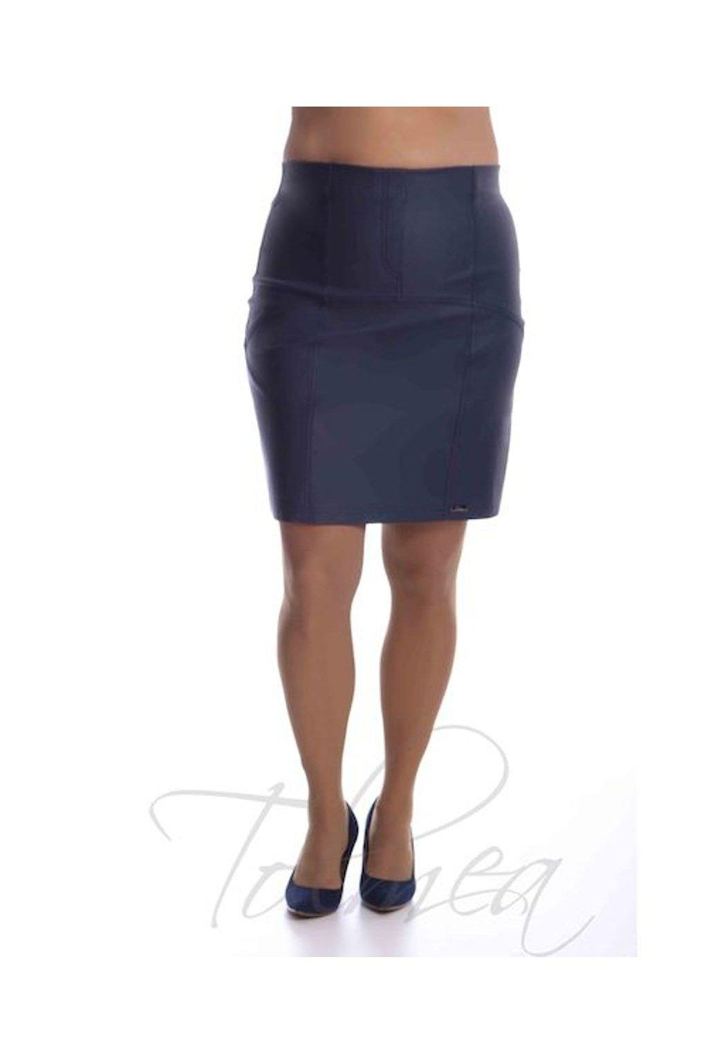 2519 Sukně členěná koženka (Velikost 36, Barva Modrá)