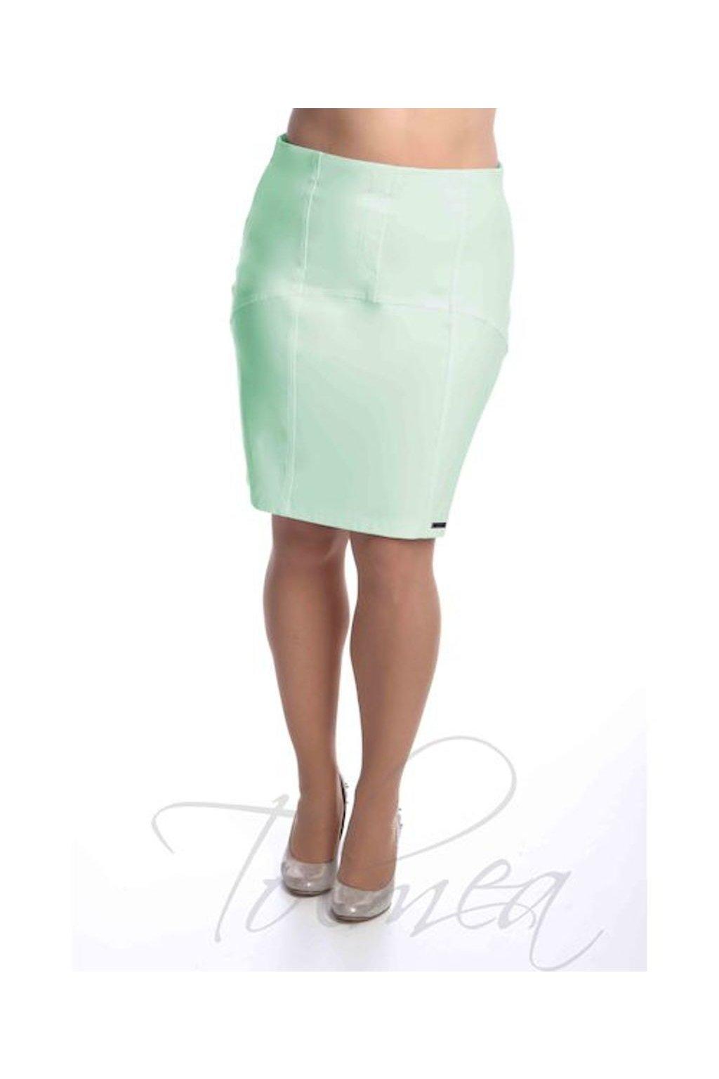 2519 Sukně členěná koženka (Velikost 36, Barva Zelená)