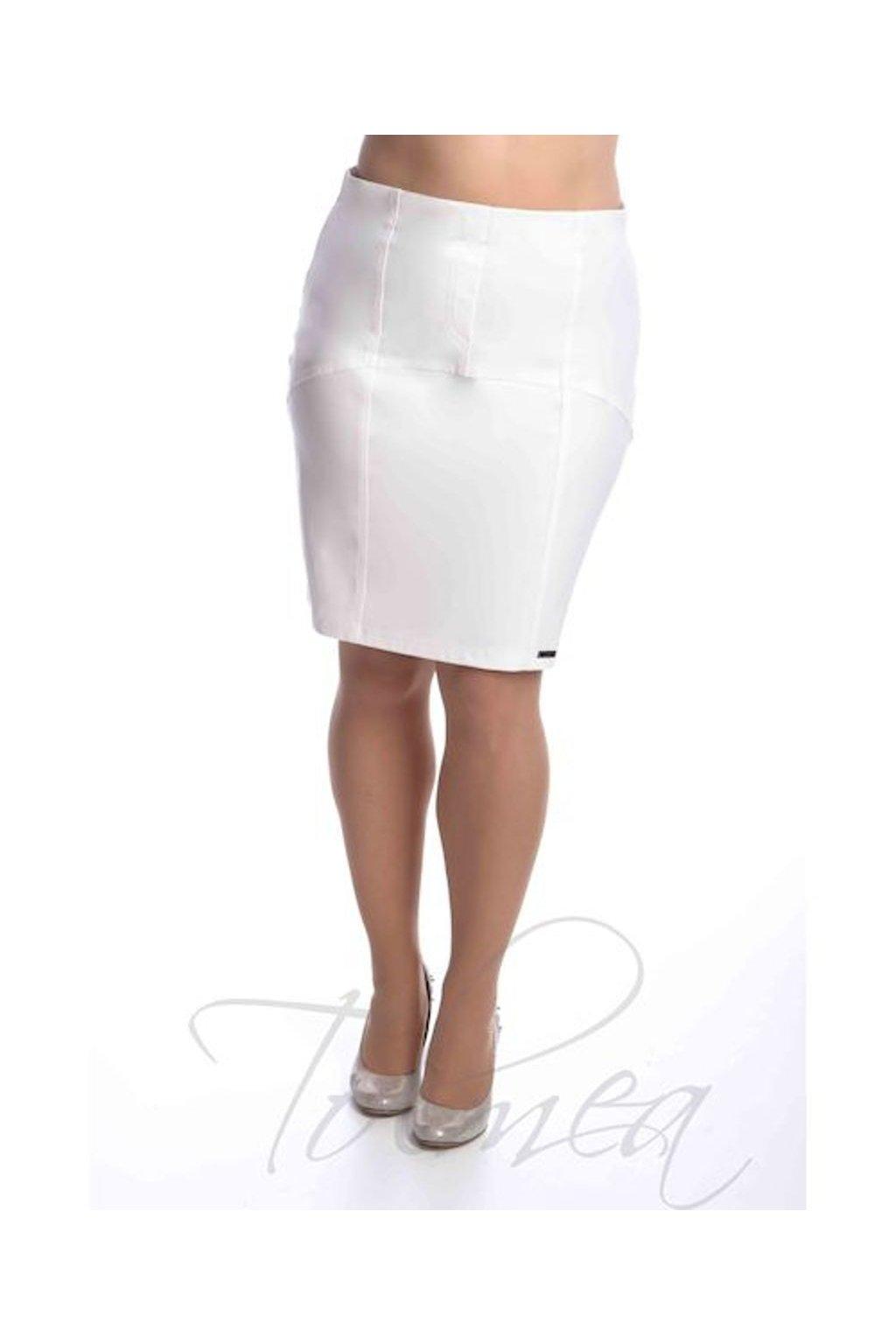 2519 Sukně členěná koženka (Velikost 36, Barva Bílá)