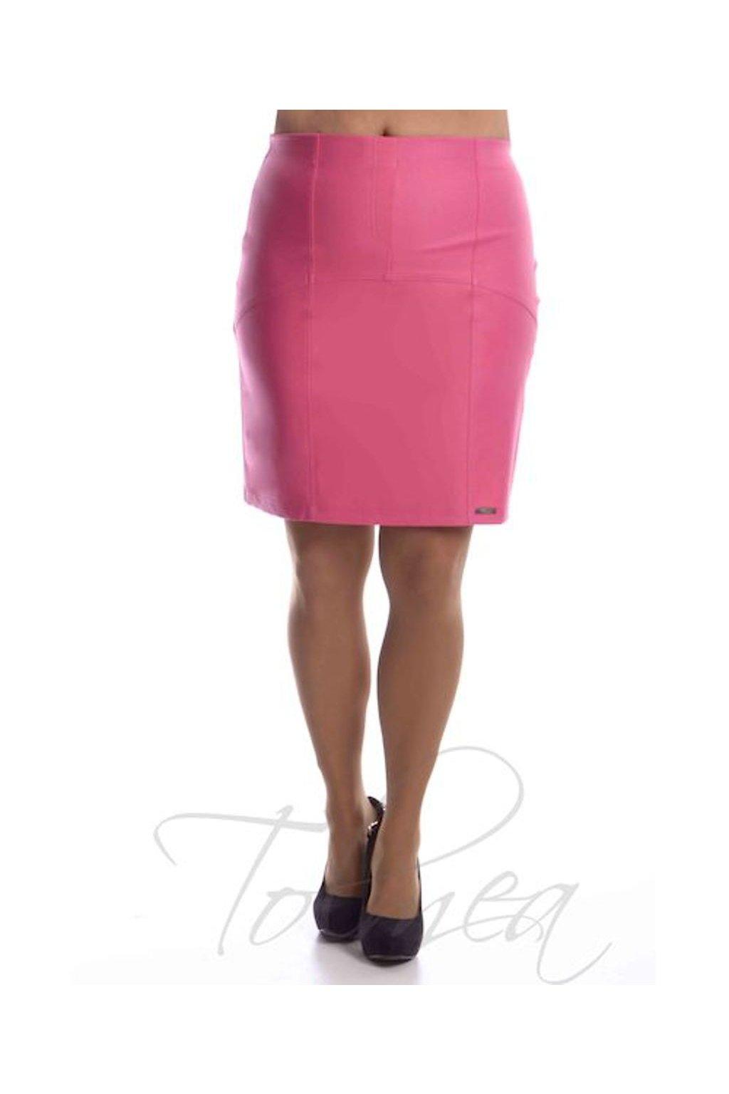 2519 Sukně členěná koženka (Velikost 36, Barva Růžová)