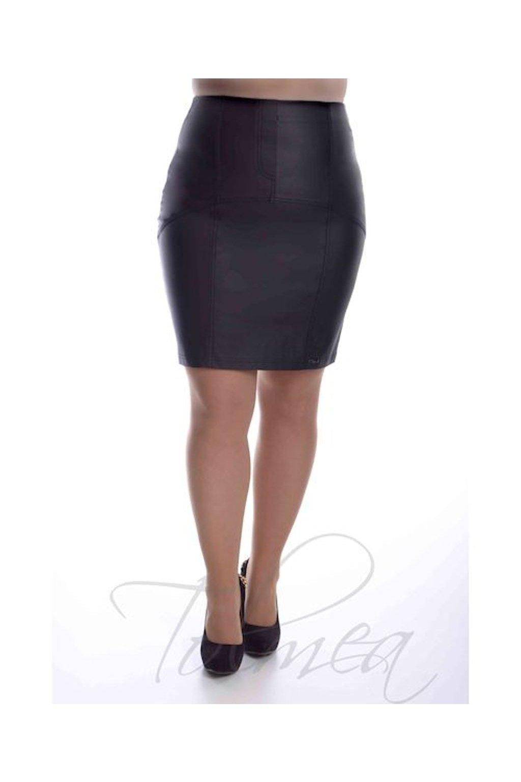 2519 Sukně členěná koženka (Velikost 36, Barva Černá)