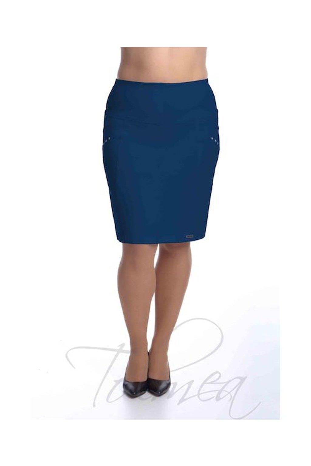 2419 Sukně členěná Nýty (Velikost 36, Barva Modrá)