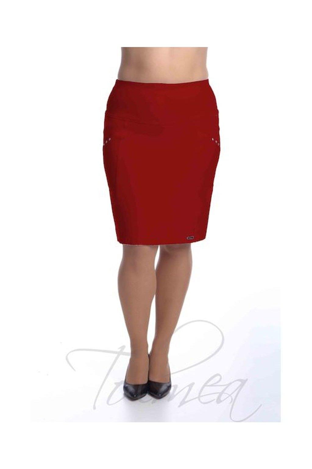 2419 Sukně členěná Nýty (Velikost 36, Barva Červená)