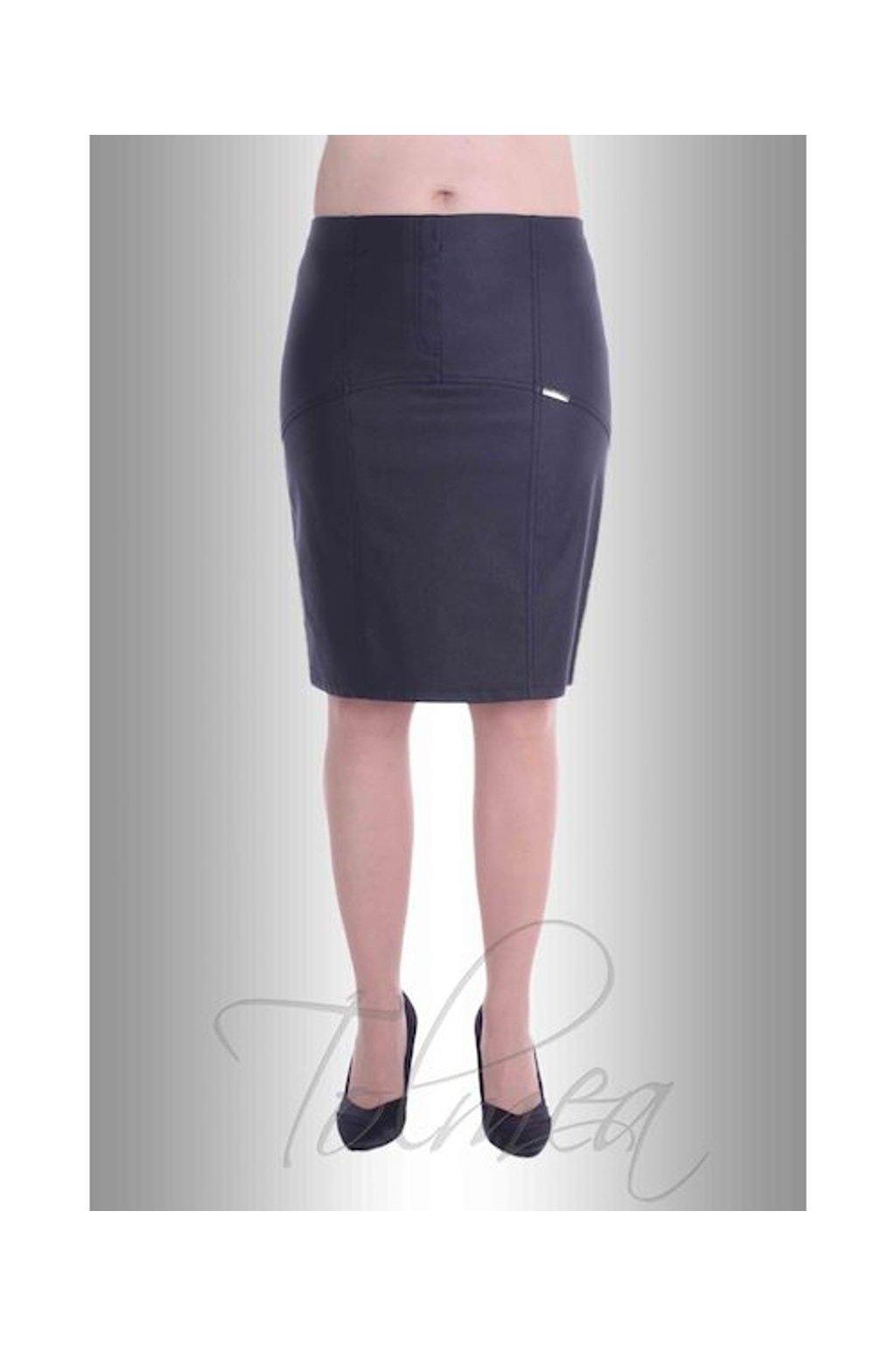 Sukně členěná kožený vzhled 6217 (Velikost 36, Barva Černá)