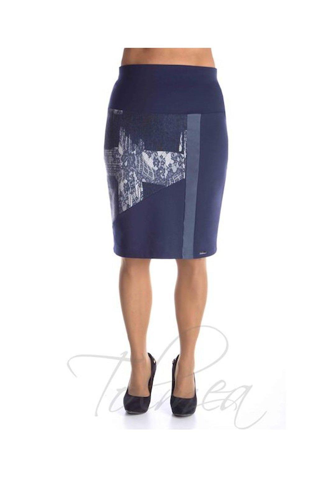 Sukně členěná koženka 6518 modrá (Velikost 36, Barva Modrá)