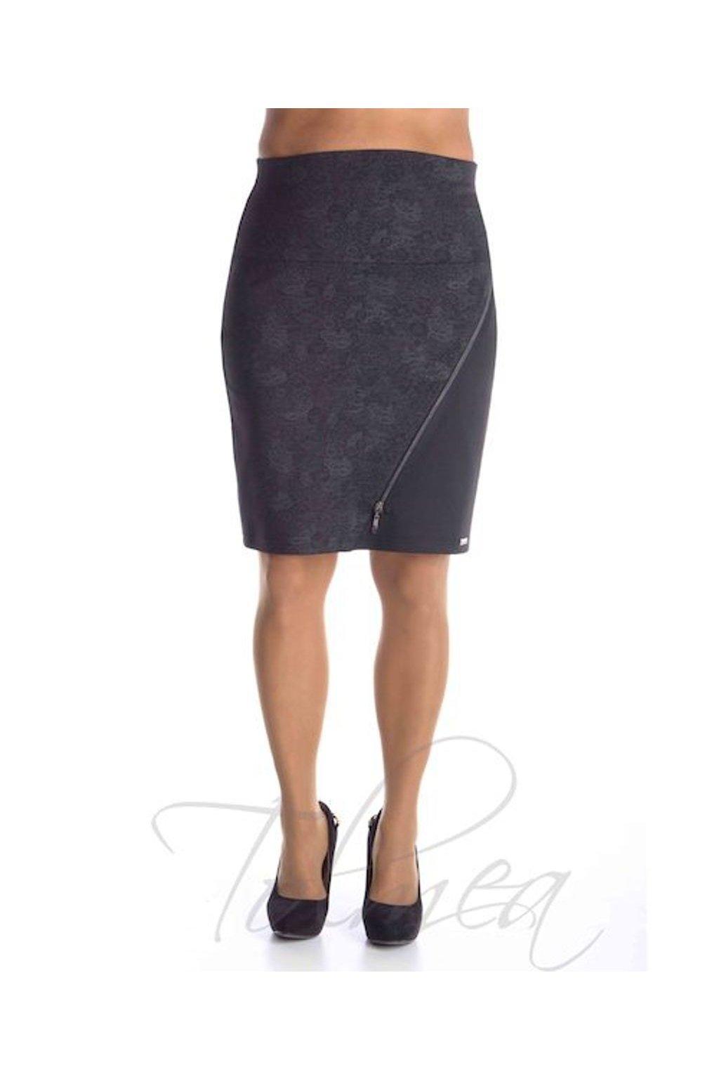 Sukně asymetrická zip 6618 (Velikost 36, Barva Stříbrná)