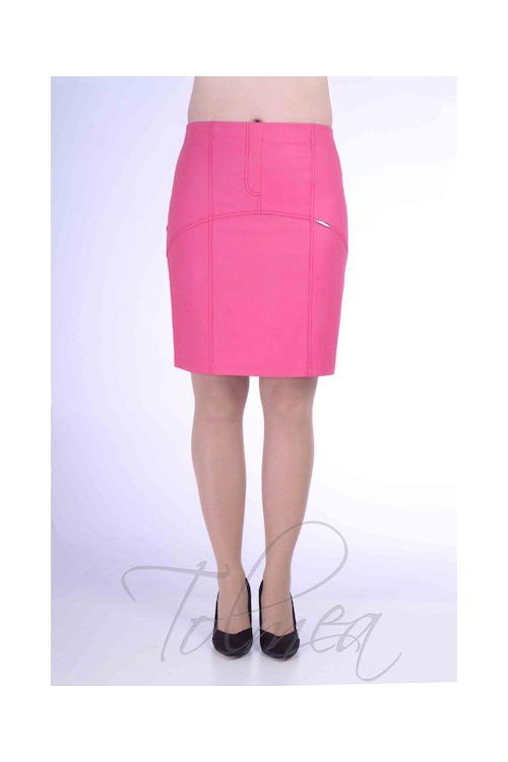 Sukně členěná koženka 0818 (Velikost 36, Barva Růžová)