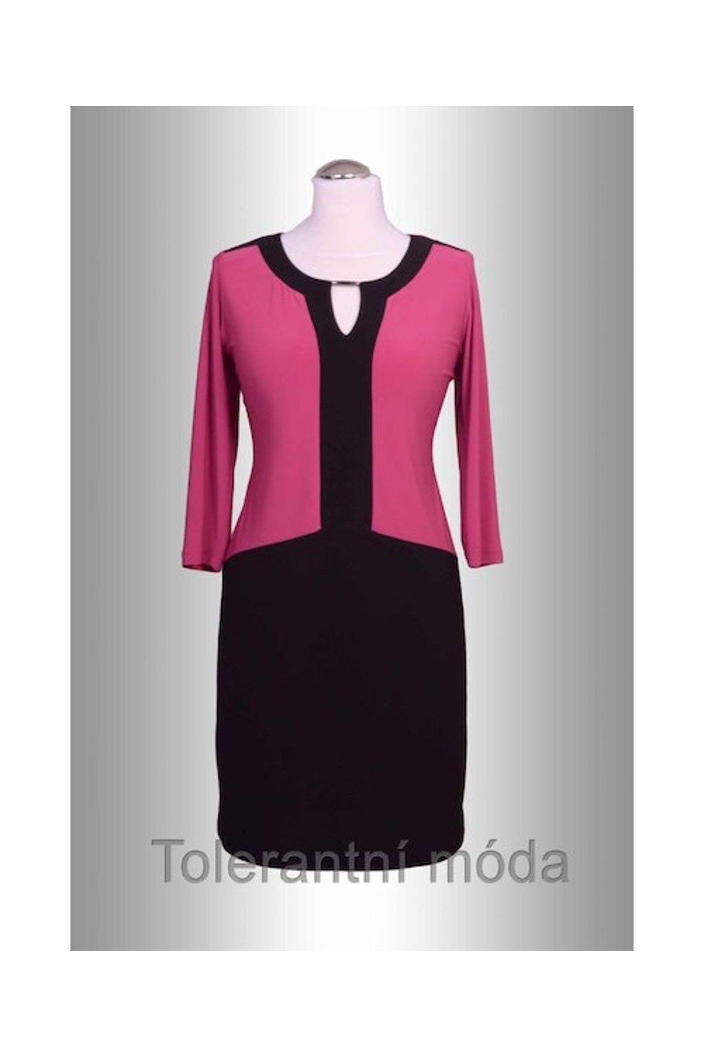 Šaty dvoubarevné sponka (Velikost 38, Barva Růžová)