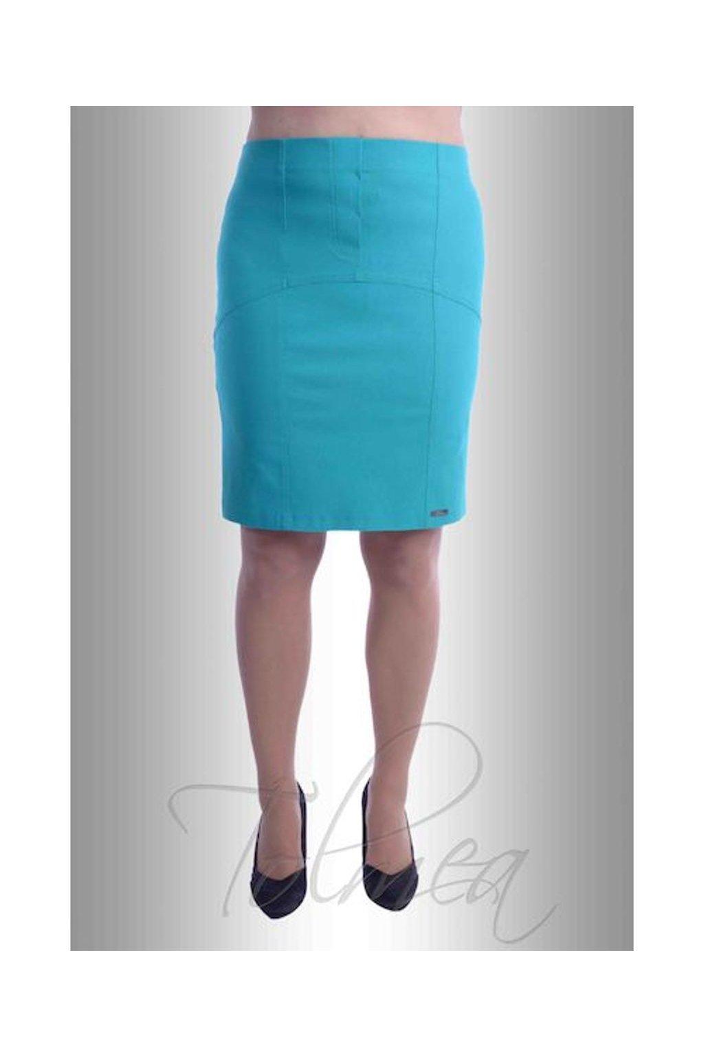 Sukně elastická členěná 4817 (Velikost 36, Barva Tyrkysová)