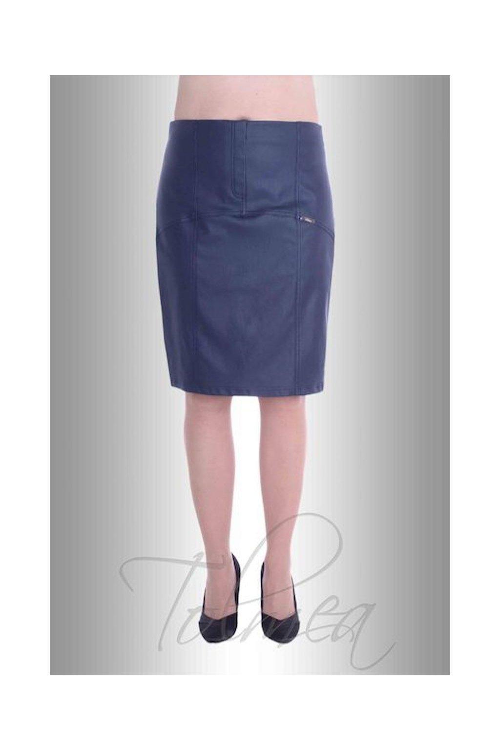 Sukně členěná kožený vzhled 6217 (Velikost 36, Barva Modrá)