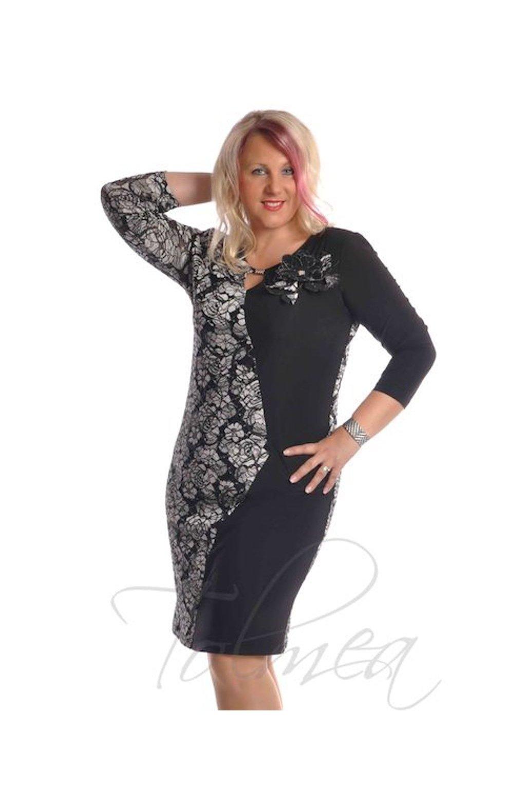 Šaty společenské krajka 9818 (Velikost 36, Barva Černo-bílá)