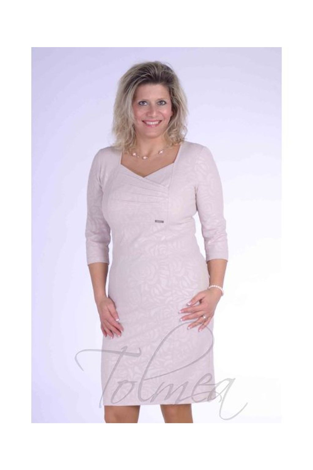 Šaty sámky 0618 (Velikost 36, Barva Pudrová)
