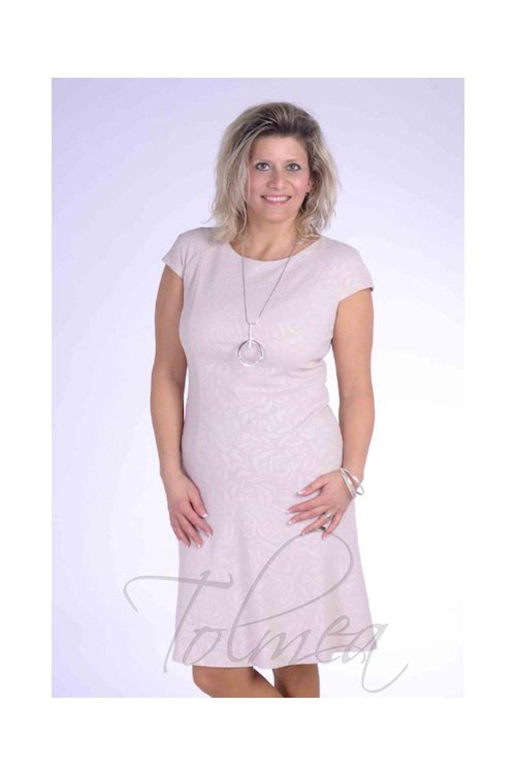 Šaty přiléhavé volán 0718 (Velikost 36, Barva Pudrová)