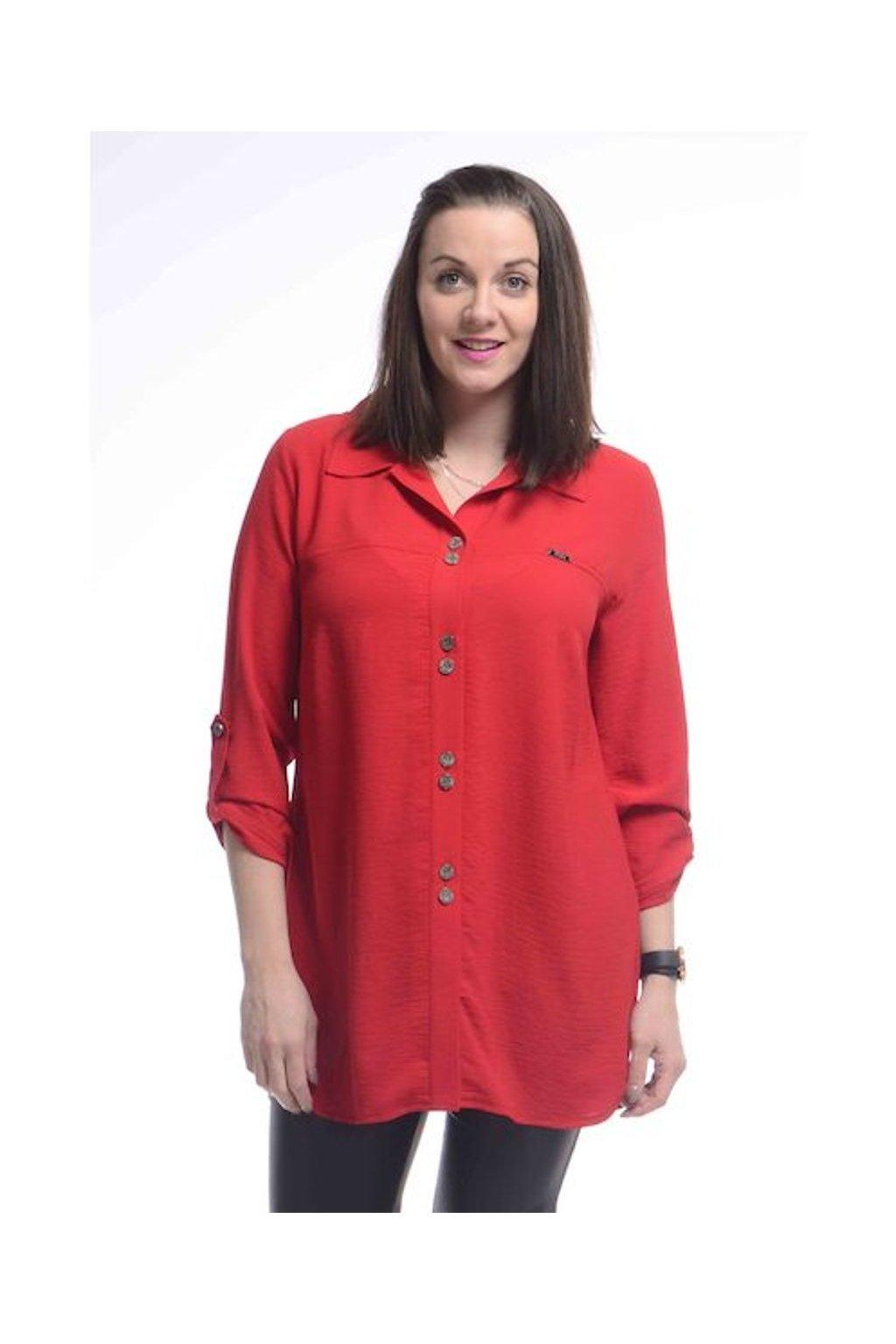 2421 Košile Chic (Velikost 36, Barva Červená)