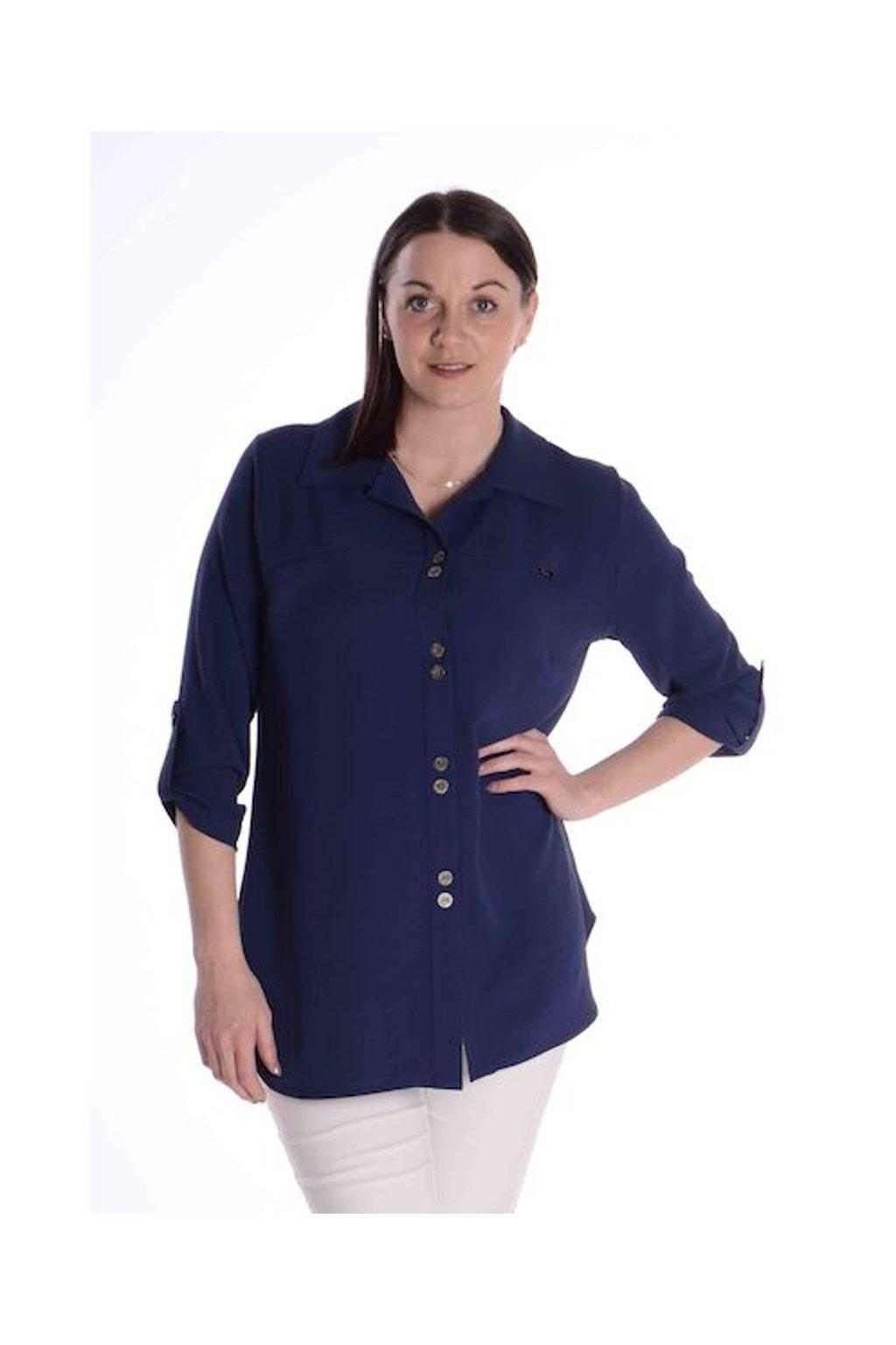 2421 Košile Chic (Velikost 36, Barva Modrá)