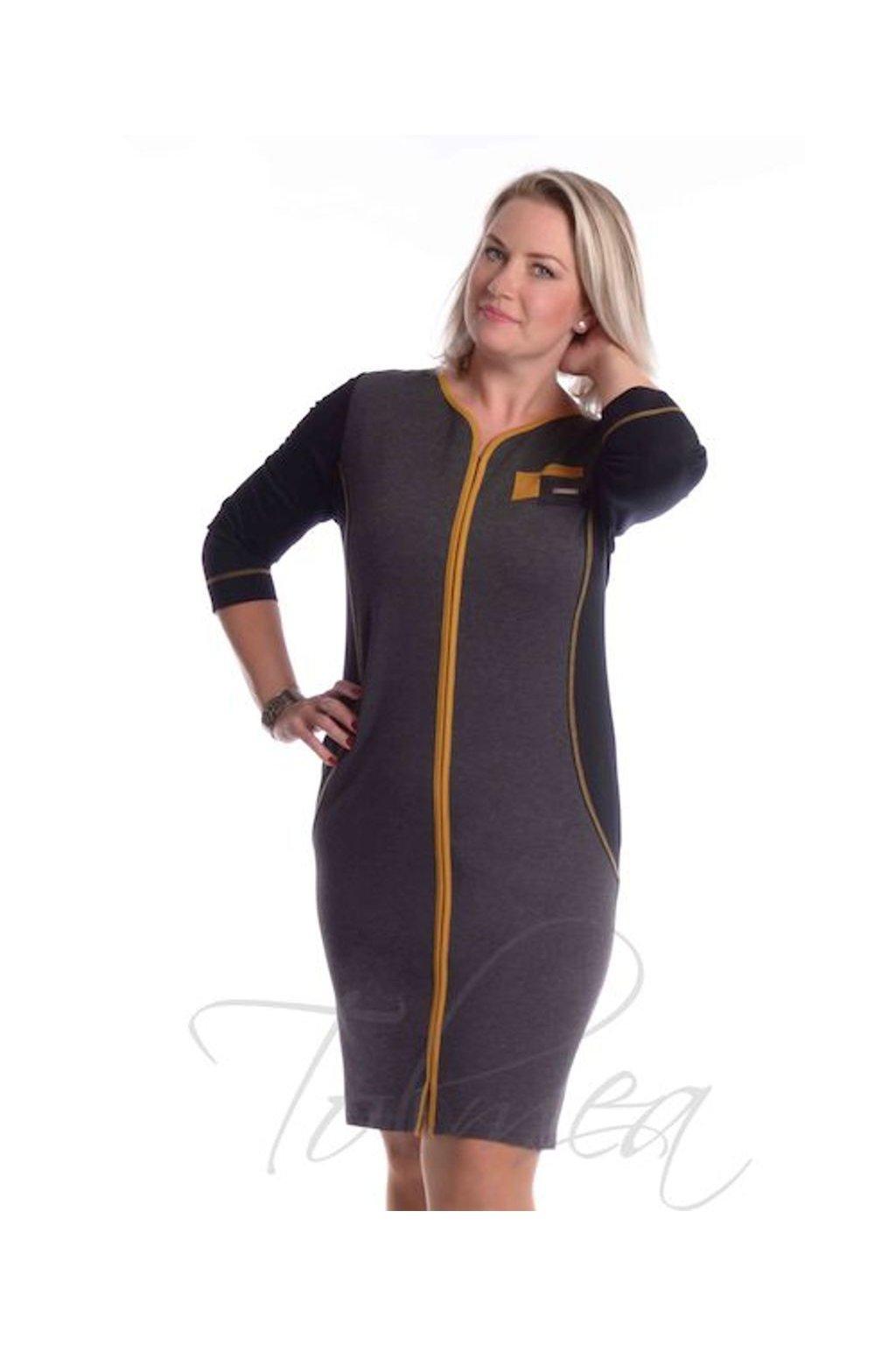 Šaty barevný lem 6718 (Velikost 36, Barva Žlutá)