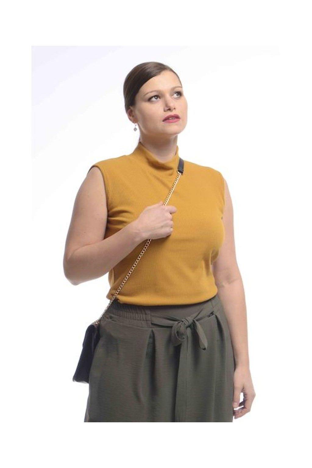 2021 Tričko Vera bez rukávů (Velikost 36, Barva Hořčicová)