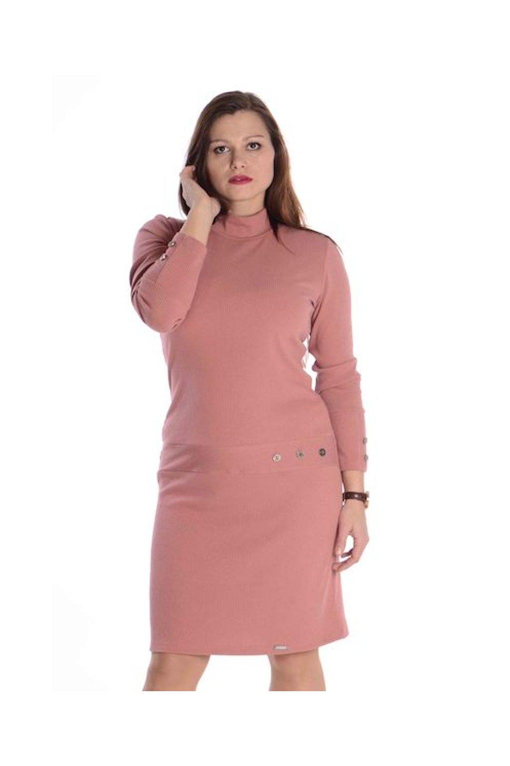 1521 Šaty Vera dl.rukáv (Velikost 36, Barva Růžová)